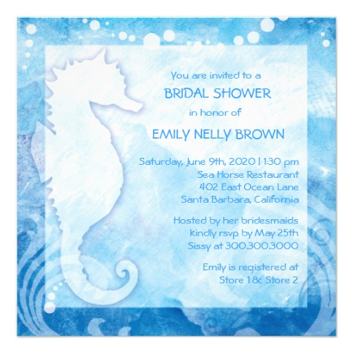 Beach Bridal Shower Invitations templates