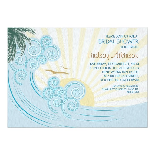 Beach scene Bridal Shower Invitations